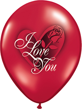 "Rundballon ""I love you"" in rubin rot"