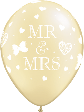 "Rundballon ""Mr. + Mrs"" in perl elfenbein"