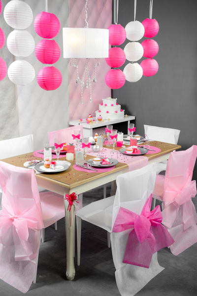Table Setting Hochzeit Pink Rosa