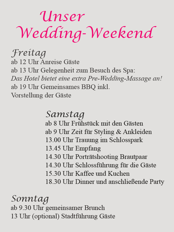 Ablaufplan Wedding Weekend