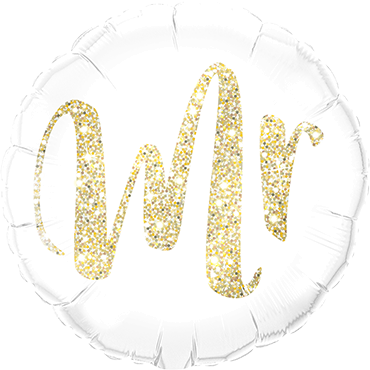 "Folienballon rund ""Mr"" glitter-gold"