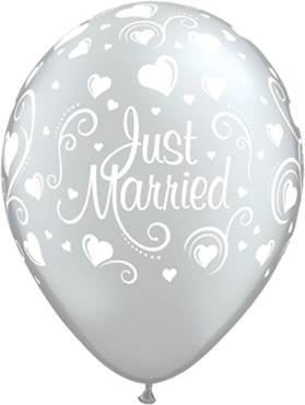 "Rundballon ""Just Married"" in silber mit Herzen"
